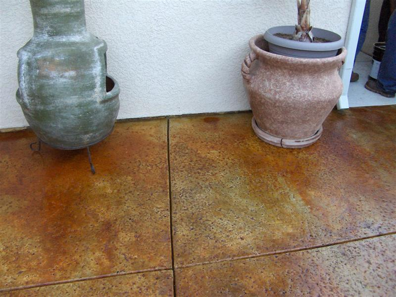 Stained Flagstone Patio